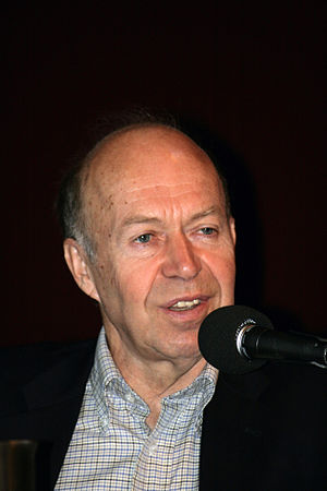 English: James Hansen, climatologist, giving a...