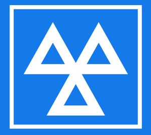 The blue 'three triangles' logo, which station...